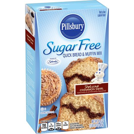 Cholesterol Free Bread ((2 Pack) Pillsbury Sugar Free Cinnamon Swirl Quick Bread & Muffin Mix, 16.4oz )