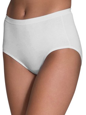 Fruit of the Loom Women's White Cotton Brief Panties - 10 Pack
