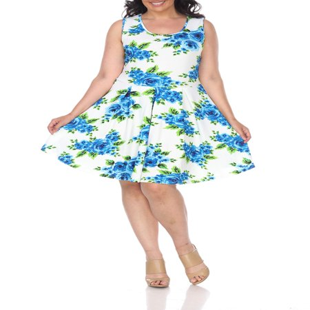 Women's Plus Size Flower Fit and Flare Dress (Dresses)