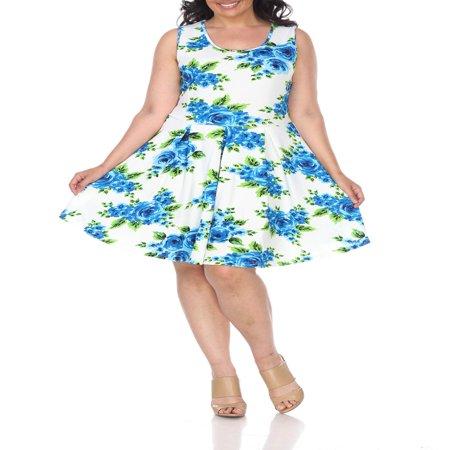 Women's Plus Size Flower Fit and Flare Dress (Petite Plus Size Dresses)