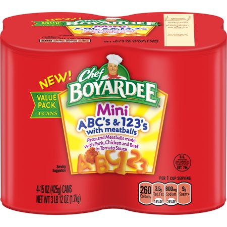 (3 pack) Chef Boyardee Mini ABC's and 123's with Meatballs, 15 oz, 4 Pack - Halloween Party Food Meatballs