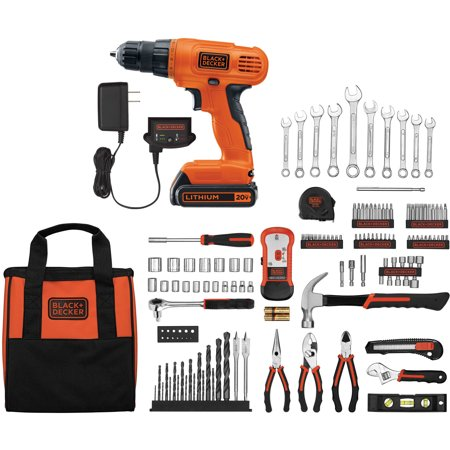 BLACK+DECKER 20-Volt Lithium-Ion Cordless Drill-Driver With 128-Piece Project Kit, - Cordless Kit