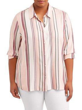 Women's Plus Size Striped Button Down Woven Top