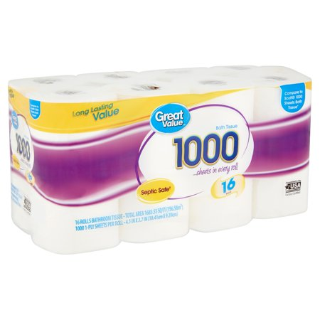 Great Value 1000 Bath Tissue Rolls, 16 count
