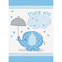 Blue Elephant Baby Shower Thank You Notes, 8ct