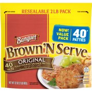 Banquet Brown 'N Serve Original Precooked Sausage Patties, 32 Ounce Value Pack, 40 Count