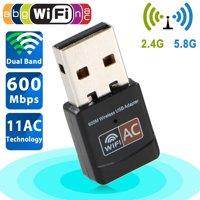 TSV 600Mbps Mini Wireless Dual Band 2.4/5GHz USB Wifi Adapter LAN Antenna Network Adapter 802.11ac/a/b/g/n
