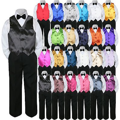 23 Color Vest Black Bow Tie Pants Boy Baby Toddler Formal Tuxedo Suit 4pc sz - Boys Tuxedo