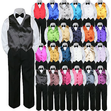 23 Color Vest Black Bow Tie Pants Boy Baby Toddler Formal Tuxedo Suit 4pc sz S-7](Boys Tuxedo)