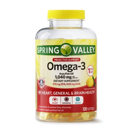 (2 pack) Spring Valley Proactive Health Omega-3 from Fish Oil Softgels, 1040 Mg, 120 Ct
