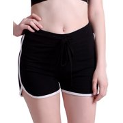 HDE Women's Retro Athletic Fashion Dolphin Running Workout Shorts (Black, Small)