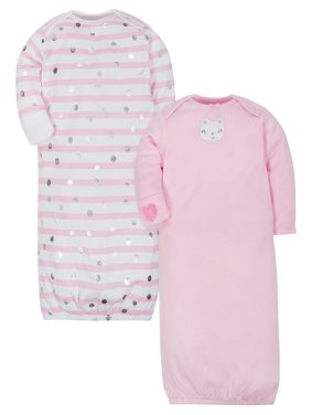 Organic Cotton Rib Lap Shoulder Gowns, 2pk (Baby Girls)