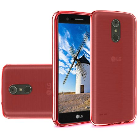 Slim TPU Silicone Soft Crystal Skin Protective Cover Case and Atom Cloth LG Stylo 4+ Plus/LG Stylo 4 (2018) - Red