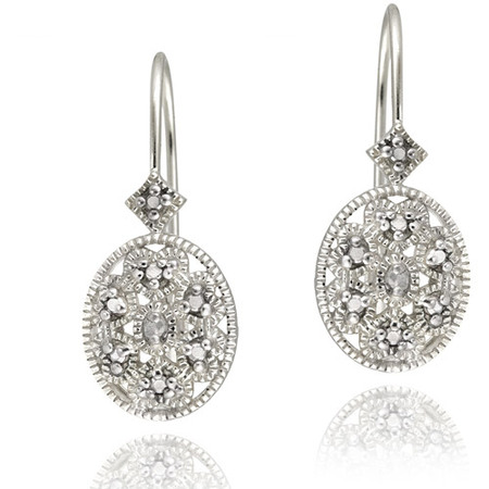 Diamond Filigree Earrings (Diamond Accent Sterling Silver Filigree Oval Leverback)