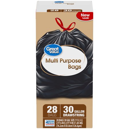 Great Value Multi-Purpose Drawstring Trash Bags, 30 Gallon, 28