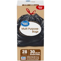 Great Value Multi-Purpose Drawstring Trash Bags, 30 Gallon, 28 Count