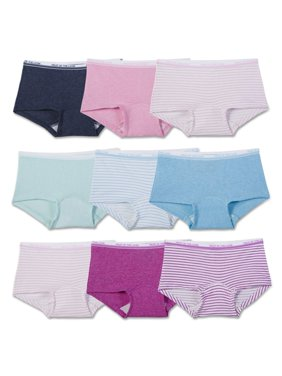 Fruit of the Loom Assorted Heather Boy Shorts, 9 Pack (Little Girls & Big Girls)