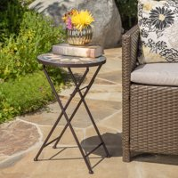 Owen Outdoor Stone Side Table with Iron Frame, Beige and Black