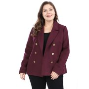 13961ca2ff Women's Plus Size Notched Lapel Winter Peacoat Double Breasted Notched  Lapel Coat Red 2X