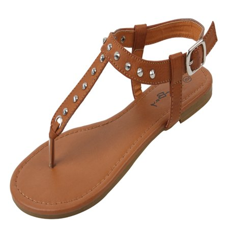New Starbay Women's Studded Brown Gladiator Sandals Flats Size 5 ()