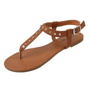 c8750cd865e New Starbay Women s Studded Brown Gladiator Sandals Flats Size 5