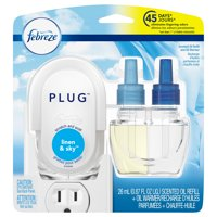 Febreze Plug Scented Oil Refill and Oil Warmer, Linen & Sky, 1 Count