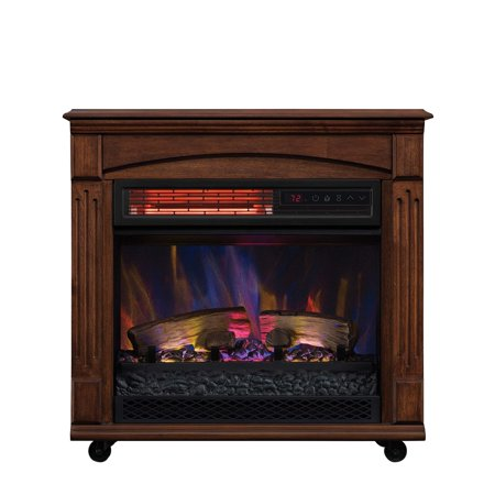 chimneyfree rolling mantel infrared quartz electric fireplace space rh walmart com Chimney Free Infrared Quartz Fireplace Chimney Free Fireplace Reviews