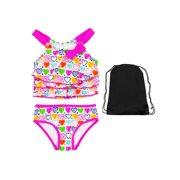 5bbed28c33717 Kiko & Max Toddler Girls Heart Tankini 2 Piece Swimsuit Swimwear with Bag 2T