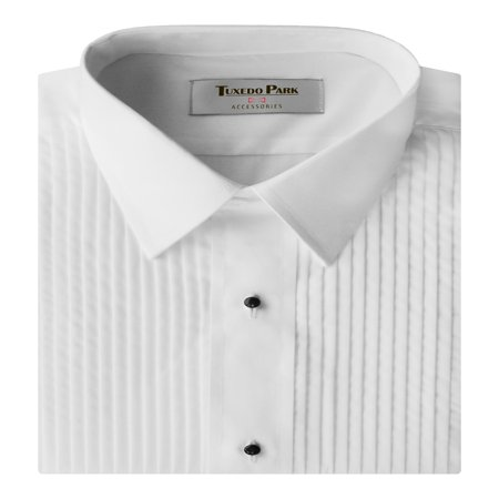 White Laydown Tuxedo Shirt - Tuxedo Shirt- White Laydown Collar 1/4 Pleat Shirt