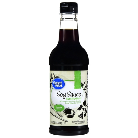 (4 Pack) Great Value Less Sodium Soy Sauce, 15 fl -