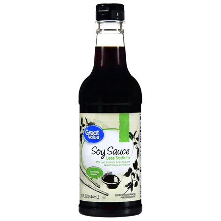 (4 Pack) Great Value Less Sodium Soy Sauce, 15 fl