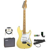 Sawtooth ET Series Left-Handed Electric Guitar with Sawtooth 10 Watt Amp and ChromaCast Accessory Bundle, Candy Apple Red with Pearl White Pickguard
