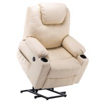 Electric Power Lift Chair Massage Sofa Recliner Heated Lounge w/ Remote Control USB Charging Ports 7045 Cream White
