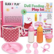 Click N' Play 8 Piece Baby Doll Feeding Set With Accessories