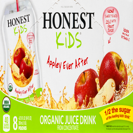 (32 Pouches) Honest Kids Organic Apple Juice Drink, 6.75 Fl Oz
