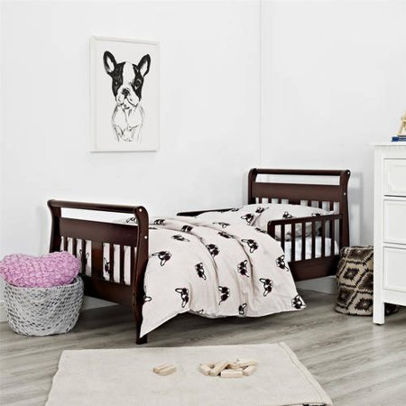 Baby Relax Sleigh Toddler Bed With Bed Rails, Espresso - Espresso Sleigh Bed