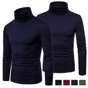 Mens Long Sleeve Cotton High Neck Turtleneck Stretch Slim Basic T Shirt Tee Tops