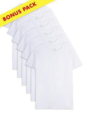 Fruit of the Loom White Crew T-Shirts, 5+1 Holiday Bonus Pack (Toddler Boy)
