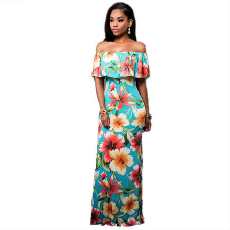 Women Boho Floral Off Shoulder Maxi Dress Cocktail Party Summer Beach Sundress Flower Casual ()