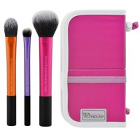 Real Techniques Travel Essentials Makeup Brush Set with 2-in-1 Case + Stand