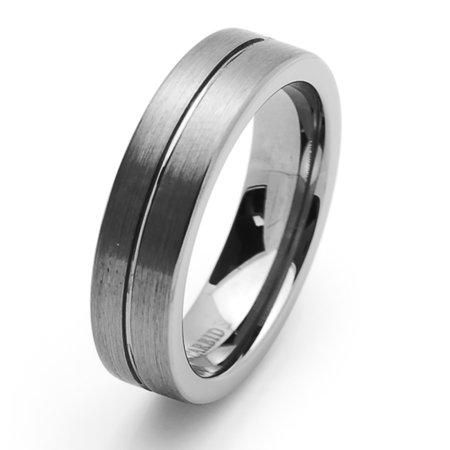 Men Women Tungsten Carbide Wedding Band Ring 6mm Comfort Fit Grooved Flat Ring For Men & Women