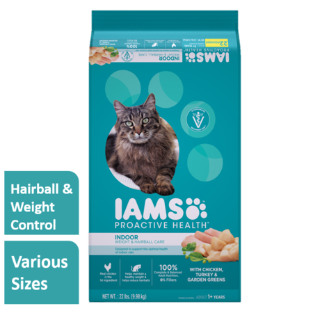 Iams Proactive Health Adult Indoor Weight & Hairball Care with Chicken, Turkey, and Garden Greens Dry Cat Food, 22
