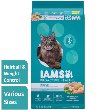 Iams Proactive Health Adult Indoor Weight & Hairball Care with Chicken, Turkey, and Garden Greens, 22