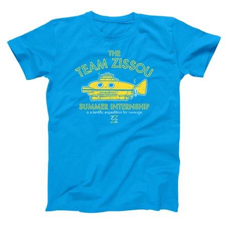 Team Zissou Submarine Intern Small Aqua Basic Men's T-Shirt - Carl Aqua Team