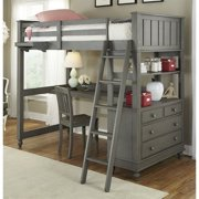 NE Kids Lake House Twin Loft Bed with Desk and Shelf in Stone