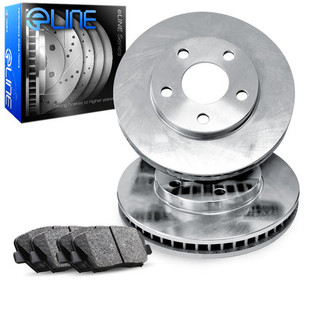 For 1987 Toyota Camry Front eLine Plain Brake Rotors + Ceramic Brake Pads