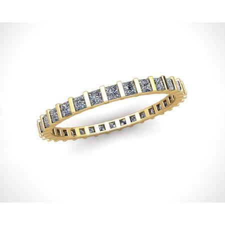 Natural 1.00Ct Princess Cut Diamond Bar Set Women's Anniversary Wedding Eternity Band Ring Solid 10k Yellow Gold I -