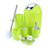 Hilitand 6 Piece Bathroom Accessories Set,Plastic Bath Ensemble Bath Set Lotion Bottles, Toothbrush Holder, Tooth Mug, Soap Dish, Toilet Brush, Trash Can