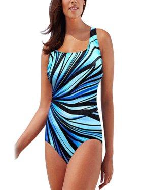 Womens Plus Size Padded One Piece Swimsuit Bathing Suit Monokini Swimwear Printed Bikini Beach