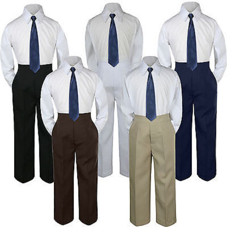 3pc Boys Suit Set Navy Blue Necktie Baby Toddlers Kids Formal Shirt Pants - Kids Slim Fit Suits
